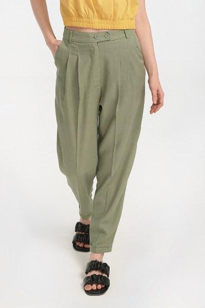 Παντελόνι λινό με ρεβέρ χακί