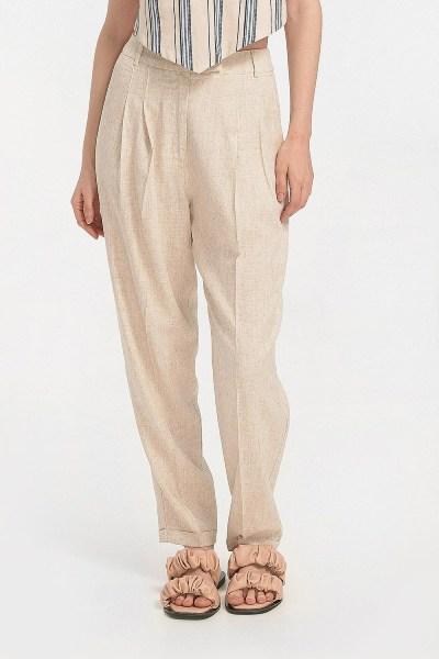 Παντελόνι λινό με ρεβέρ nude