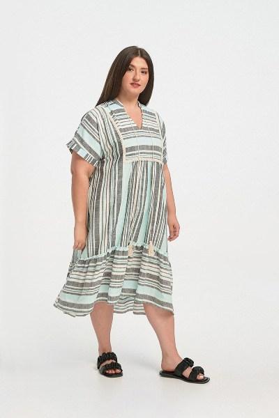 Φόρεμα plus size boho ασσύμετρο ριγέ