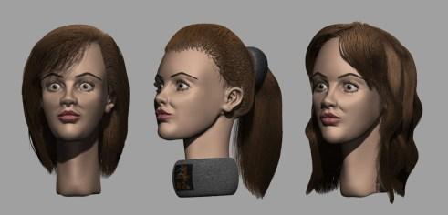 Varias pruebas de peinado.