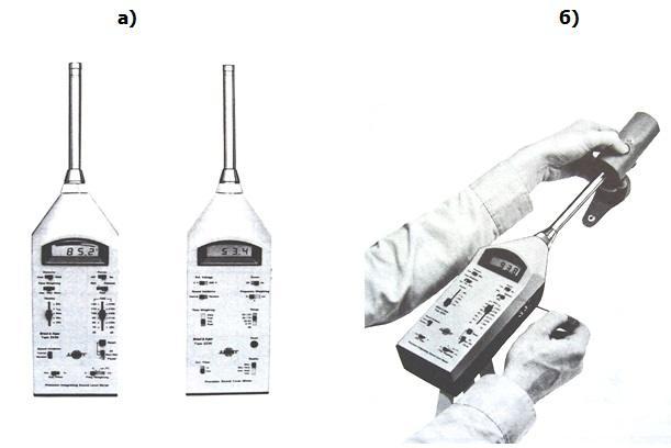 Измерване на шум и вибрации Два типа съвременни шумомери – а; калибриране на шумомер с помощта на пистофон – б