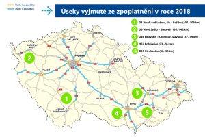 Mapa úseků, kde řidiči nebudou muset mít dálniční známku. Foto: Ministerstvo dopravy
