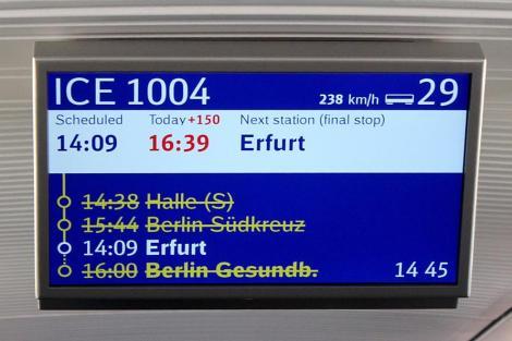 Konečný ortel - po jízdě odklonem bude vlak ukončen v Erfurtu. Foto: David Krásenský
