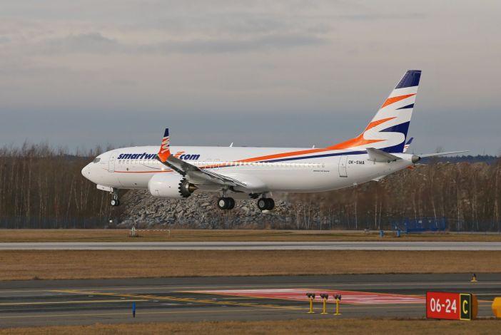 První přistání Boeingu 737 MAX 8 v barvách SmartWings na ruzyňské letiště. Foto: Letiště Praha