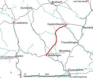 Trať Gunzenhausen - Nördlingen. Pramen: Von Dealerofsalvation - Eigenes Werk, Gemeinfrei, https://commons.wikimedia.org/w/index.php?curid=791609
