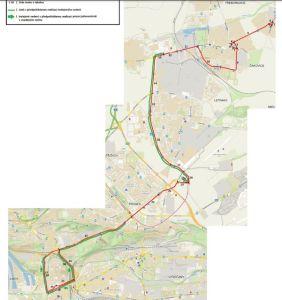 Trasa budoucího trolejbusu z Libně do Miškovic. Pramen: DPP/dokumentace EIA