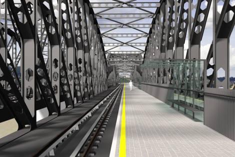 Vizualizace nového železničního mostu mezi Výtoní a Smíchovem. Foto: SŽDC