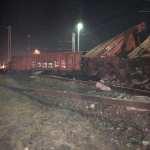 Vykolejení vlaku ve stanici Krompachy. Foto: FB stránka Obmedzenie prevádzky na tratiach ŽSR