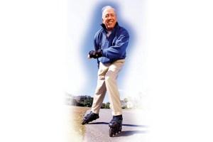 Възрастен мъж на кънки