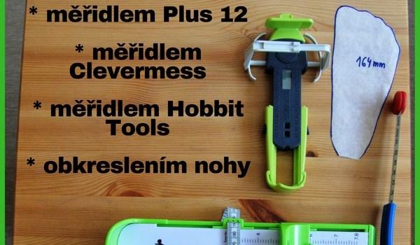 Srovnání měření délky nohy měřidly Plus 12, Clevermess, Hobbit Tools a obkreslením nohy