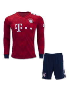 Bayern-Munich-Long-Sleeves-Football-Jersey-And-Shorts-Home-18-19-Season