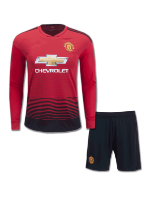 Manchester-United-Long-Sleeves-Football-Jersey-And-Shorts-Home-18-19-Season