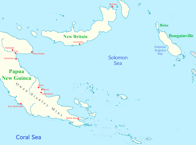 Map of New Guinea and Solomon Sea area