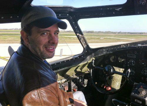 Clint Hayes in B-17 pilot seat