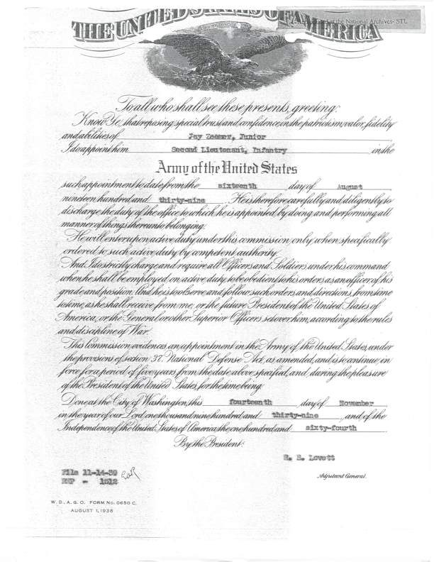 Document showing Zeamer commission to 2nd Lt