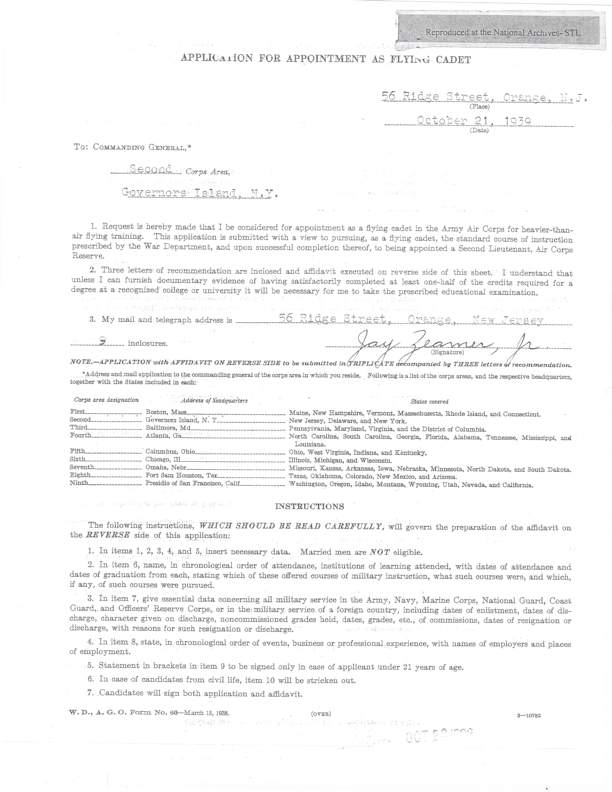 Document showing Zeamer flight cadet application