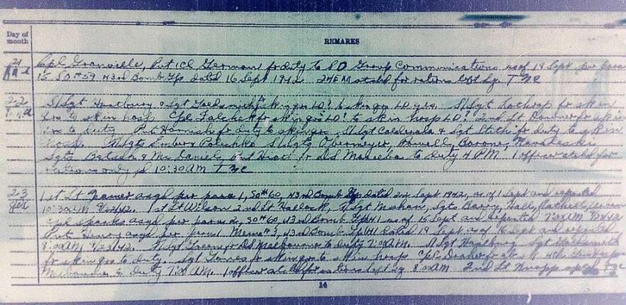 Document showing Zeamer reporting to 403rd