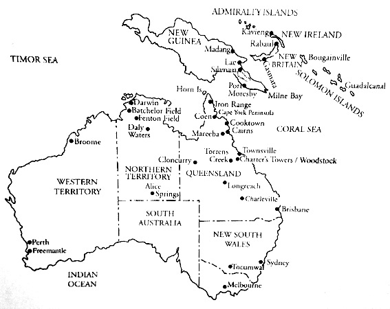Map of air bases in SW Pacific