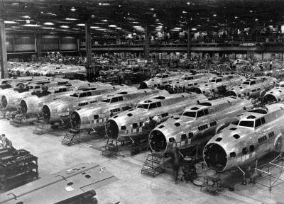 Photo of B-17Es under construction at Boeing Plant 2