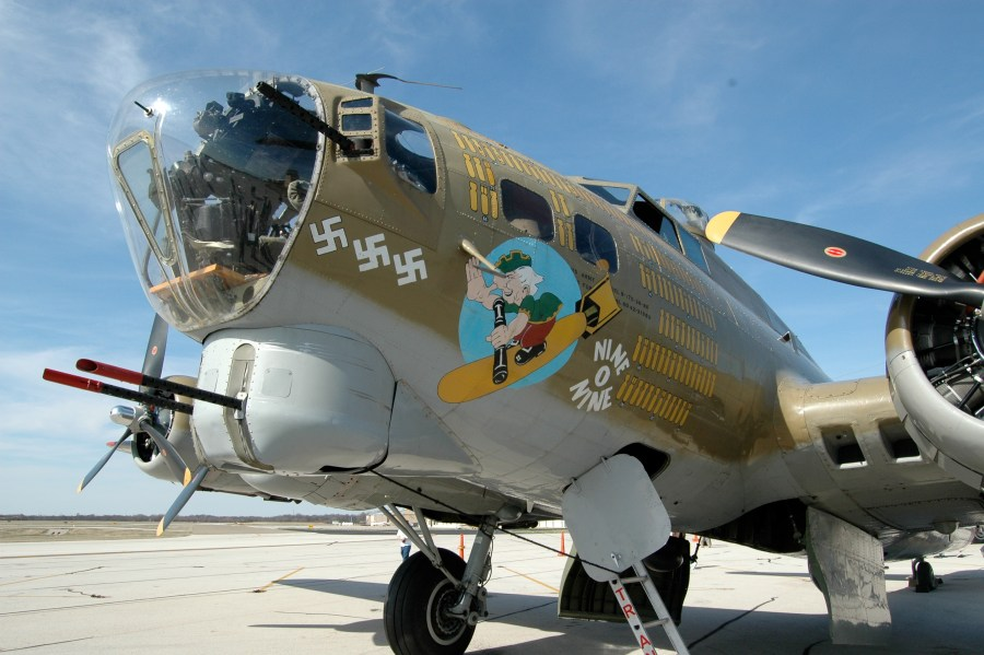 """Photo of Collings Foundation B-17G """"Nine-O-Nine"""" from front left"""