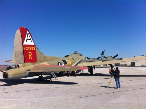 """Photo of Collings Foundation B-17G """"Nine-O-Nine"""" from the right rear"""