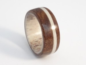 Deer antler and walnut burl ring