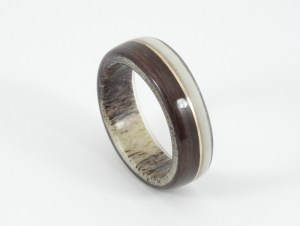 Deer antler ring with ebony and copper