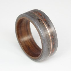Bent wood ring made with grey maple, rosewood, dino bone, meteorite and copper
