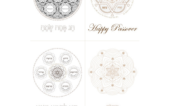 Passover Greeting Cards-Seder Plates-Coloring Print-Easy