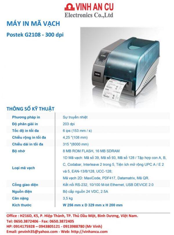 Xem mua máy in Nhãn Postek G2108 203 DPI