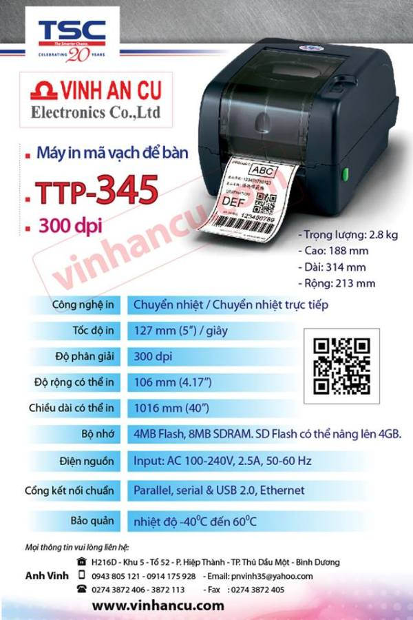 MÁY TCS 99-127A003-41LF TTP-345 + internal Ethernet