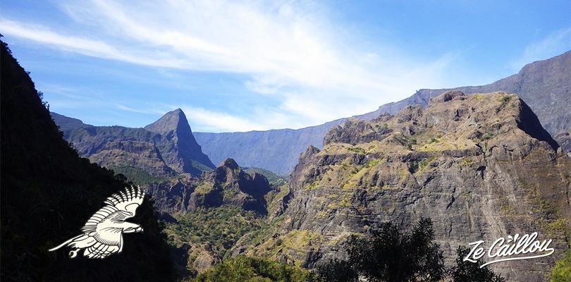 Paysage de montagne lors de la marche pour aller au kabar de Mafate