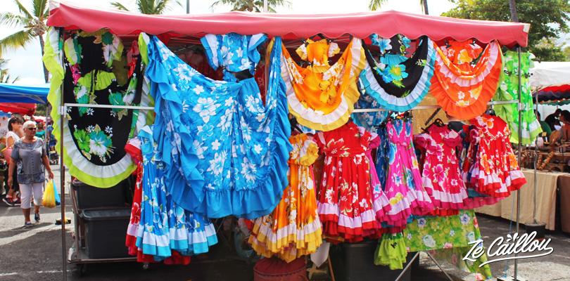 Habits traditionnels, robes de danse maloya créole à la Réunion