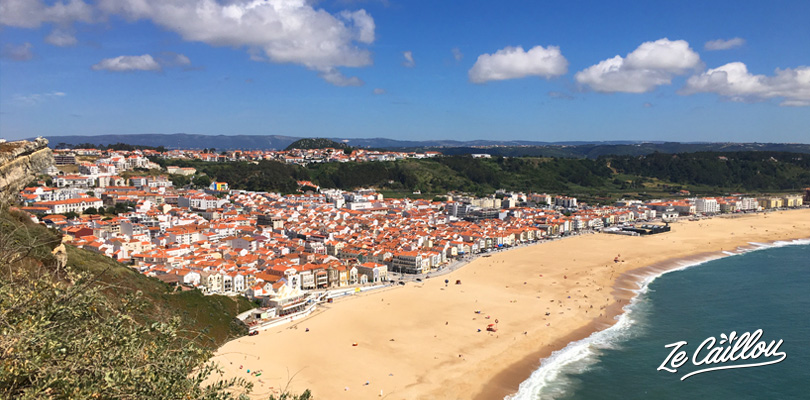 Panoramic view on Nazare town, the surf Mecca in Portugal