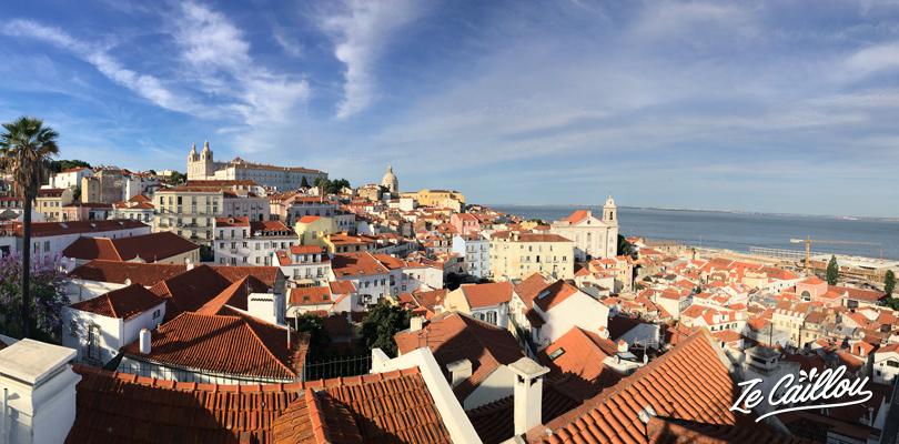 Vue unique sur les toits en tuile du vieux quartier de l'alfama à Lisbonne