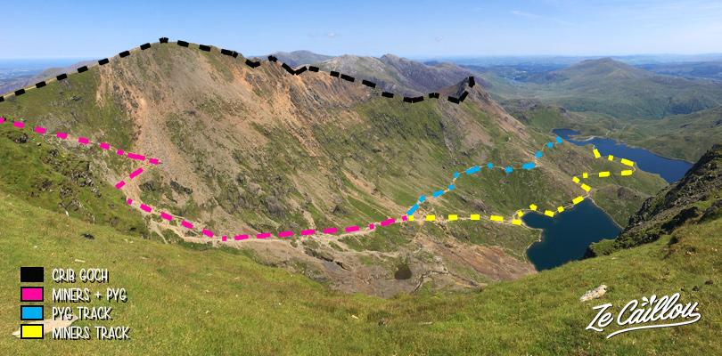 Les différents sentiers pour la randonnée du mont Snowdon aux pays de galles