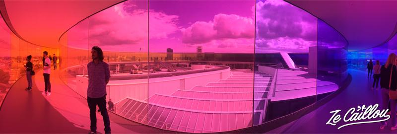 Walk in a rainbow in the roof top of the ARoS museum in Aarhus, Denmark