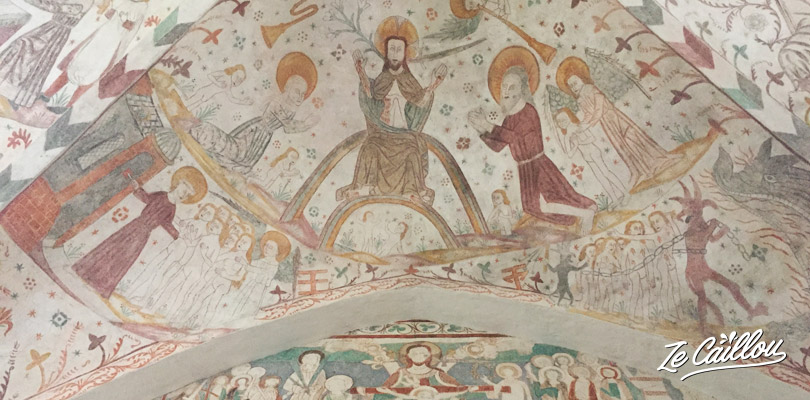 Naive medieval frescoes from churches of Mon island in Denmark