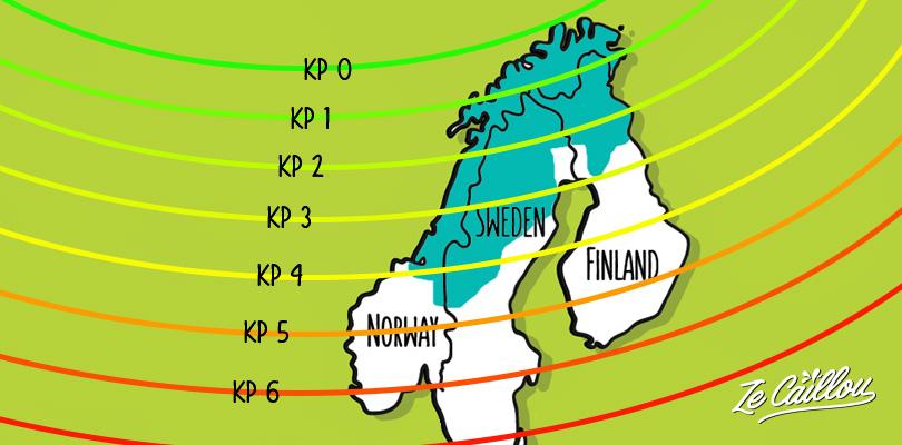 Indice KP minimum pour observer les aurores boréales en Laponie.