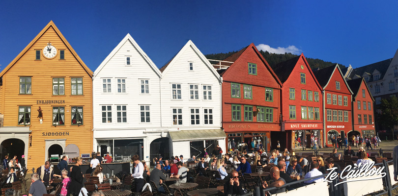 The colorful buildings of the Bryggen district of Bergen in Norway