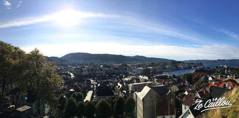 The panoramic view at the top of the cable car of Bergen, Norway