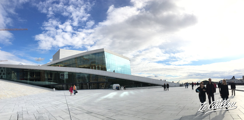 The well known opera of Oslo on the waterfront of the city