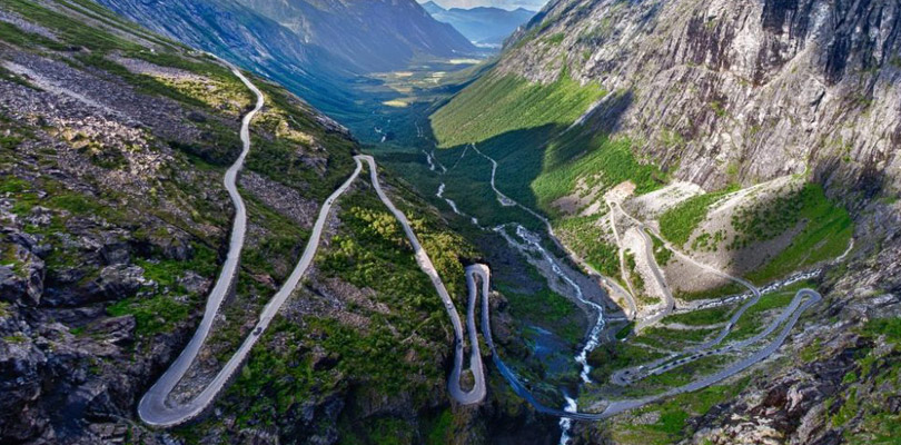 The Trollstigen crazy road in the center Norway