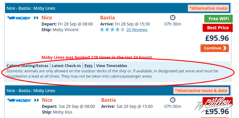 Booking a ferry for a dog, Pets' details for a travel in ferry with a dog in Europe on direct ferries.