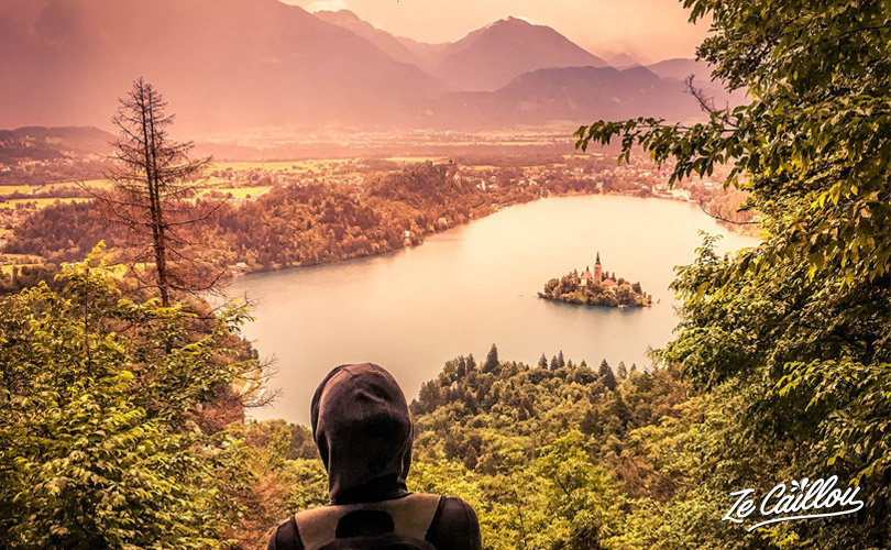 Amazing panoramic view on the Bled lake in the Triglav National Park in Slovenia.