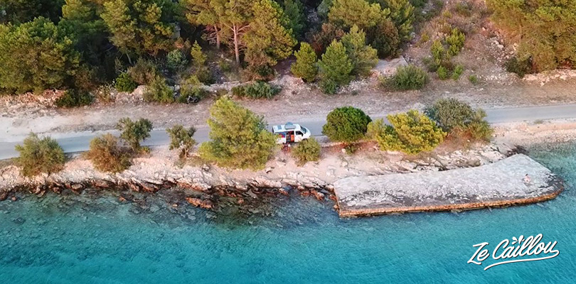 Visit croatian islands in van, best spots to park on Brac island in Croatia.