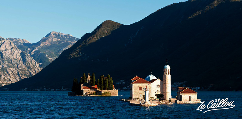 The Island of the Dead and the Notre dame du rocher Island, in front of Perast on the Montenegrin coast.