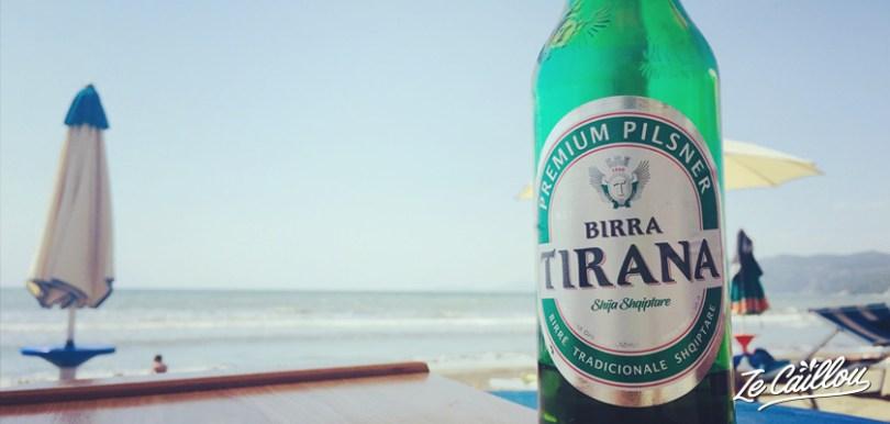 Tirana, bière locale d'Albanie comme la capitale, pendant un road trip en Albanie en van.