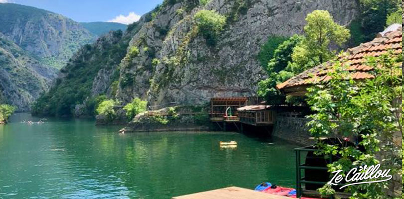 Rent a boat or a kayak to visit Matka canyon in Macedonia.