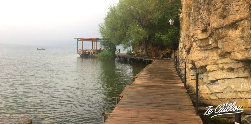 Nice walk... beach, wooden path on the Orhid lake, in Macedonia during a roadtrip in Macedonia.